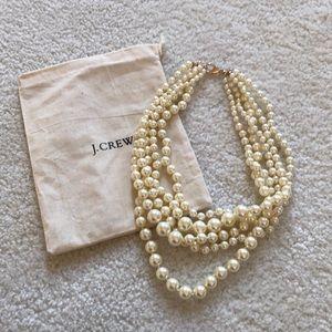 J. Crew Five Strand Pearl Statement Necklace